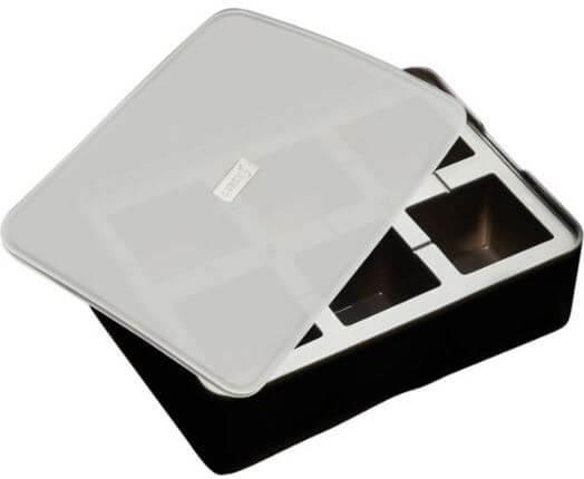 Lurch-Isterningebakke-sort-silikone-låg-rund-5x5